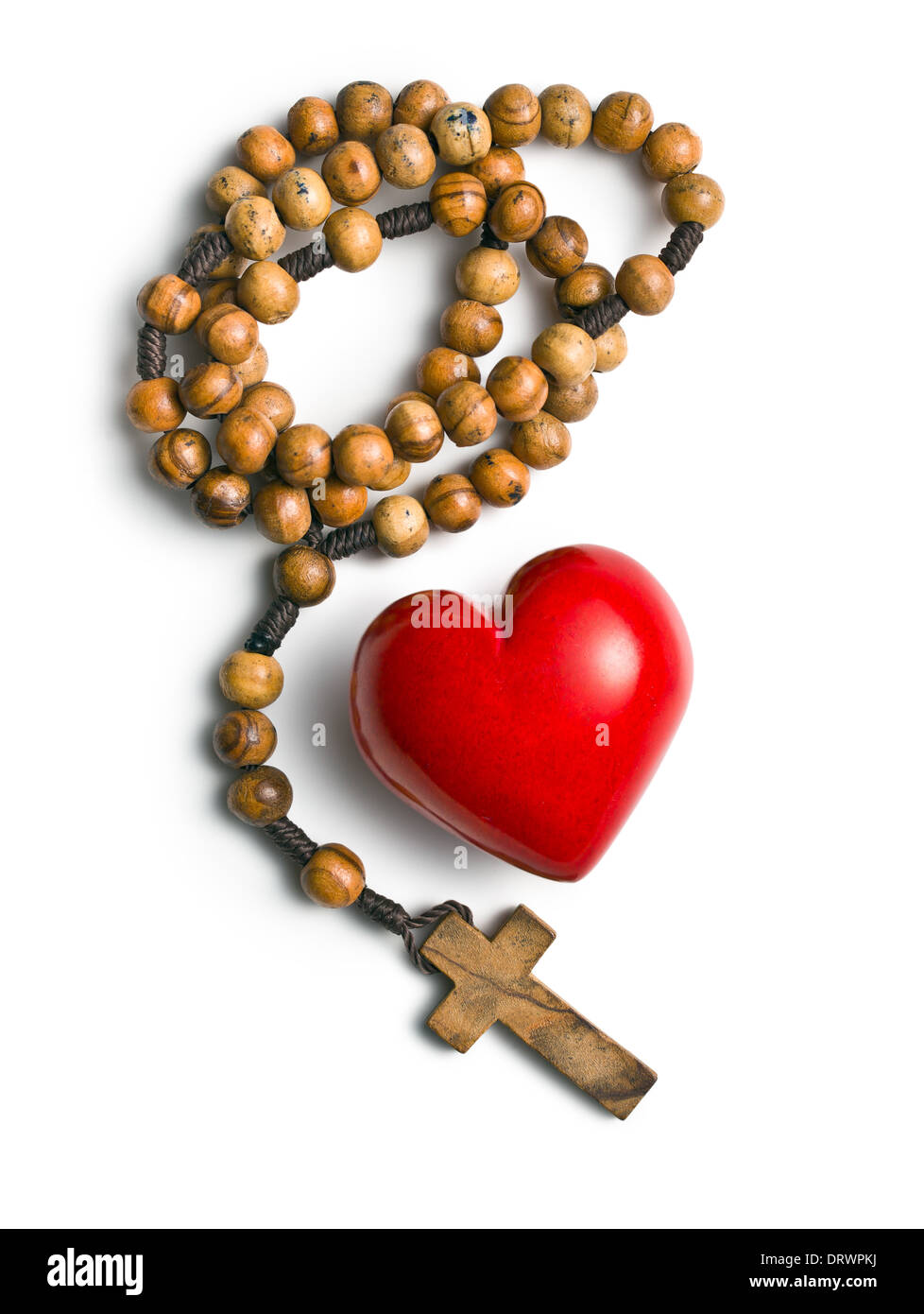 Top View Of Rosary With Heart Of Stone On White Background Stock