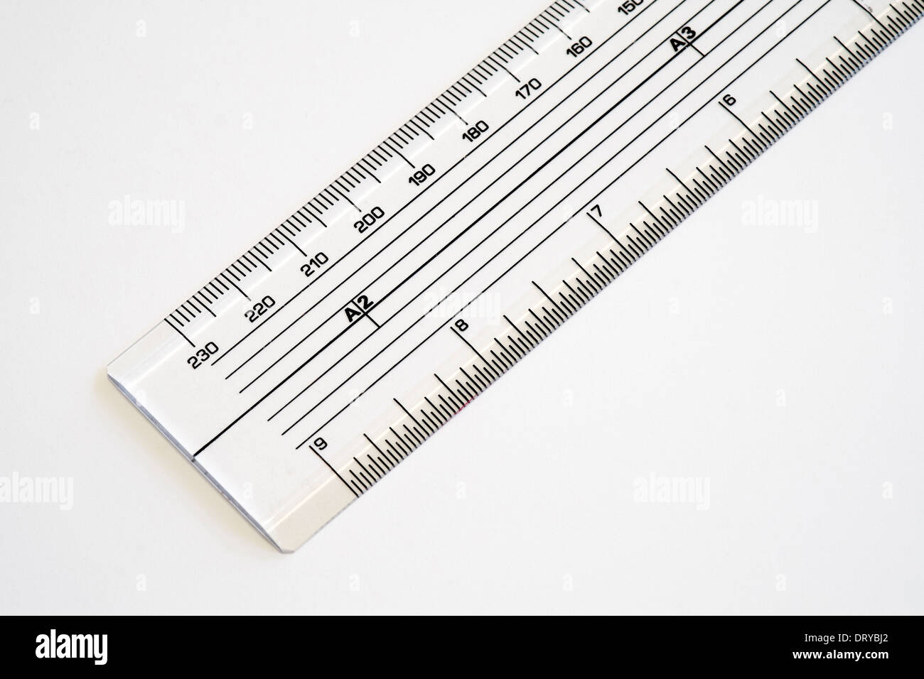 transparent acrylic scale ruler showing inches and millimeters on stock photo royalty free. Black Bedroom Furniture Sets. Home Design Ideas