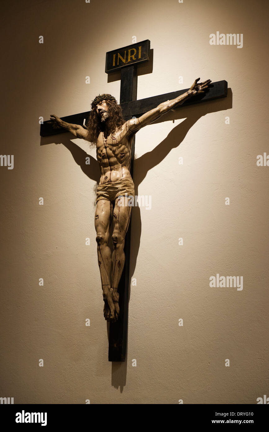 statue of jesus christ on the cross in the interior of the