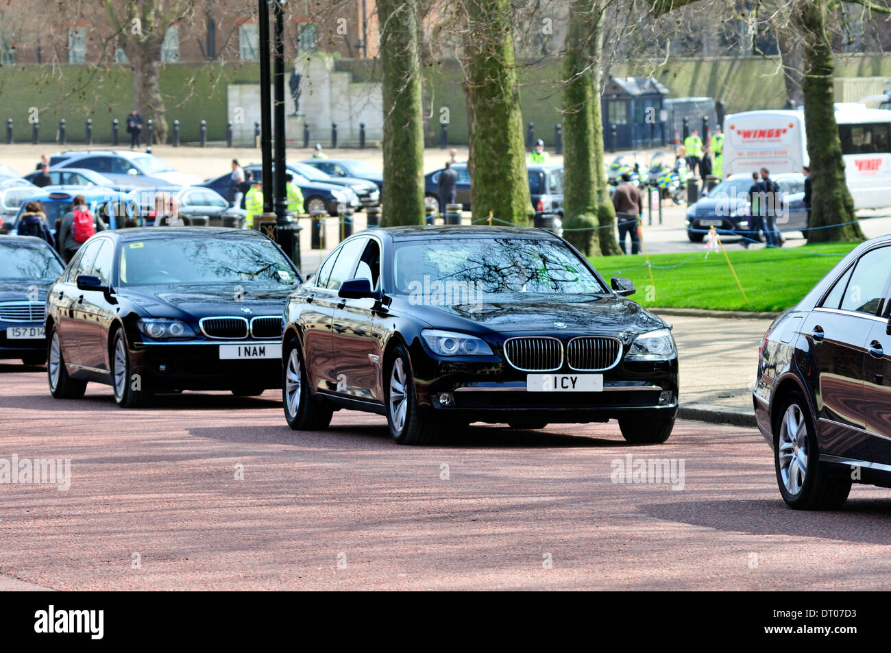 London England Uk Foreign Ambassadors Cars Going To Buckingham