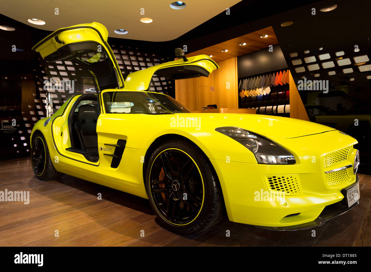 amg sls coupe electric drive gullwing motor car on display at amg mercedes showroom in odeonsplatzmunich bavaria germany