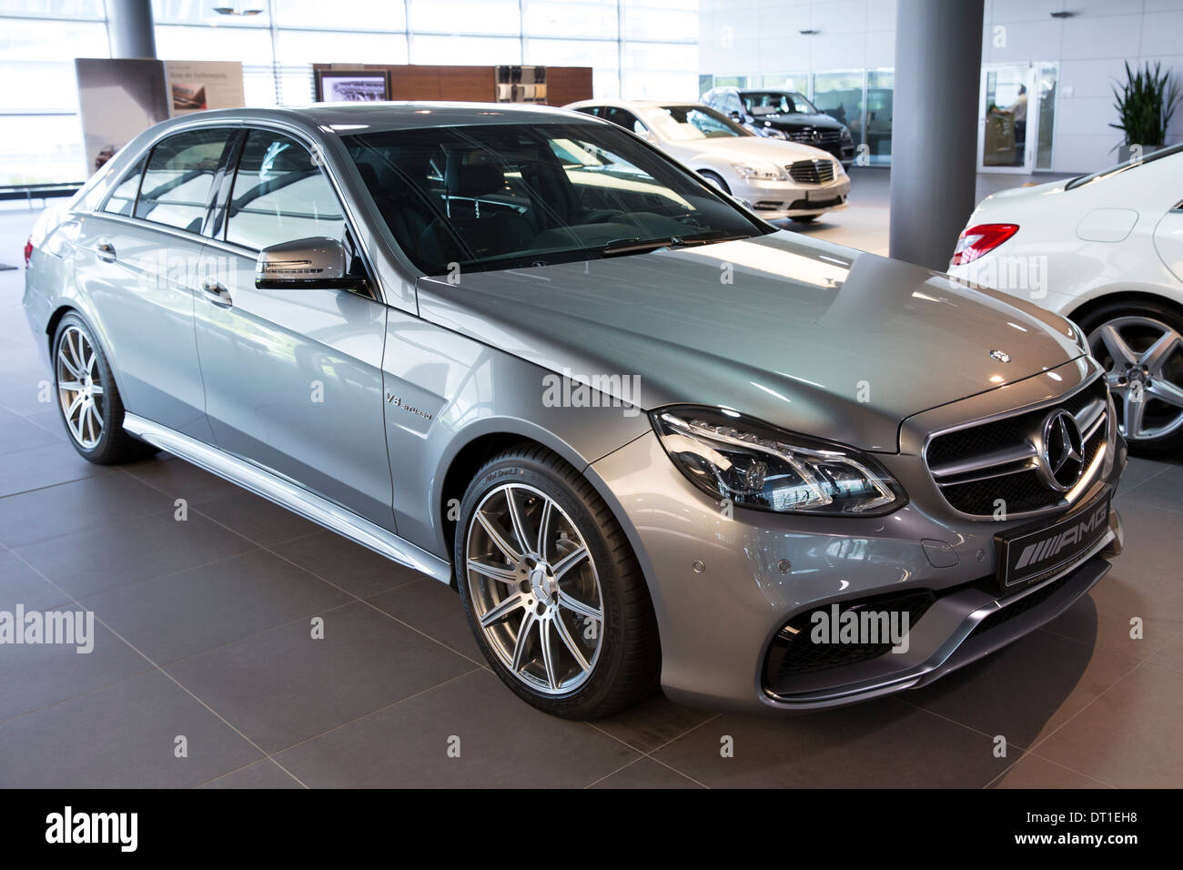 mercedes amg e63 amg v8 biturbo saloon car in mercedes amg showroom stock photo royalty free. Black Bedroom Furniture Sets. Home Design Ideas