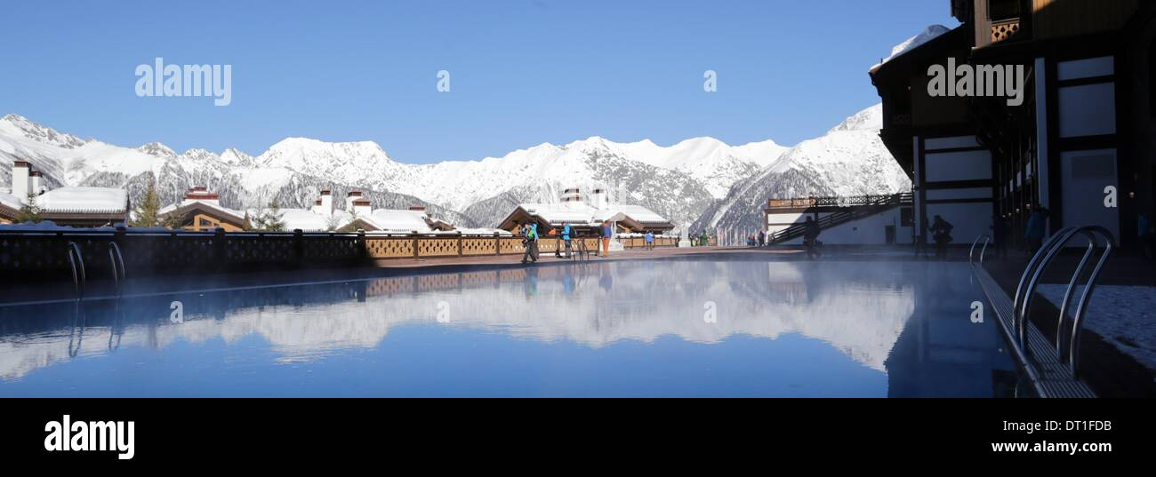 06th feb 2014 view of a swimming pool at the endurance olympic village in krasnaya polyana russia 06 february 2014 the sochi 2014 olympic games run
