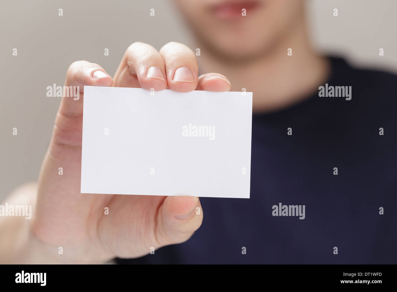 adult man hand holding empty business card in front of camera Stock ...