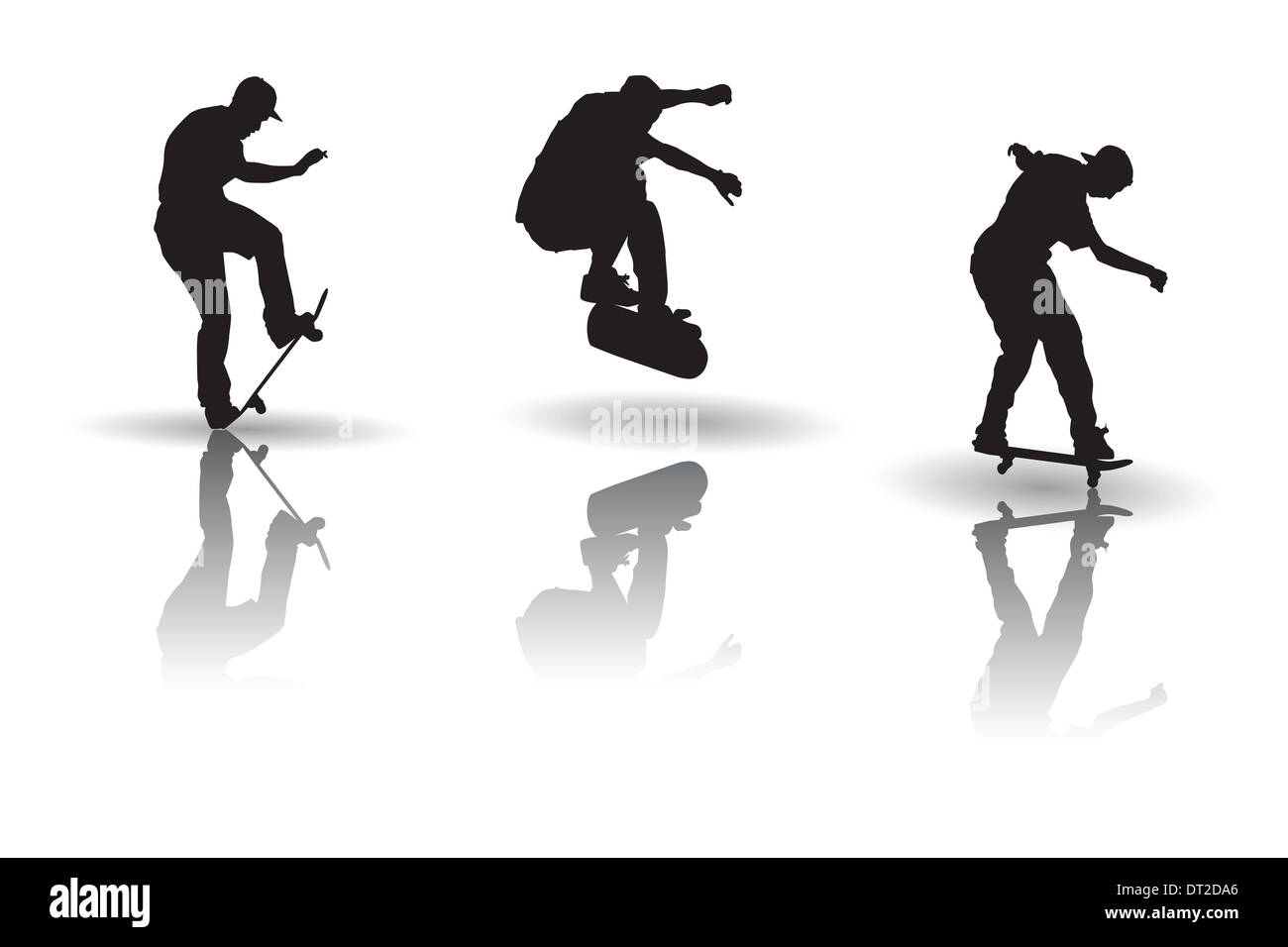 Vector of some skateboarding Posture silhouettes Stock ...