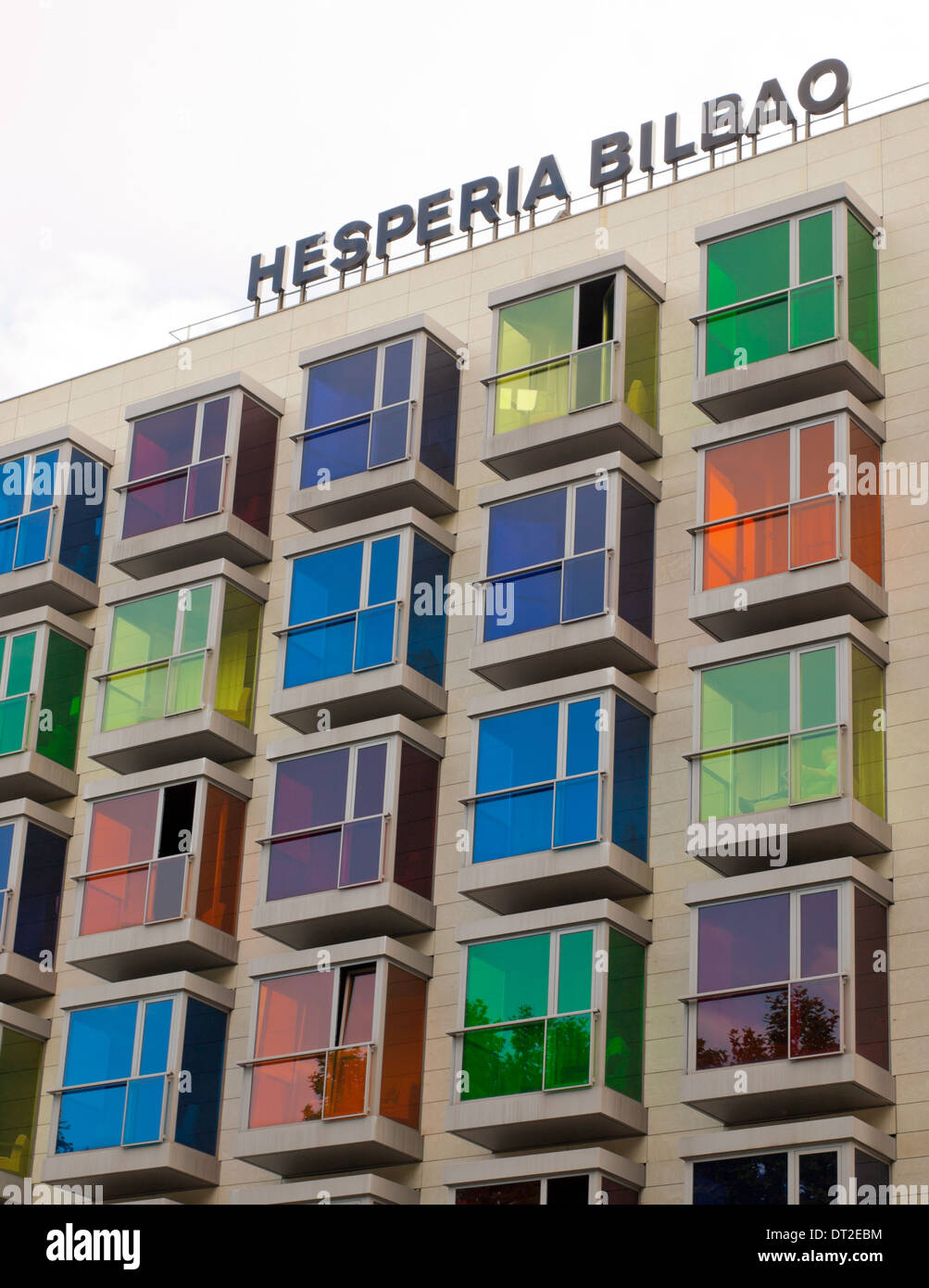 colourful windows are the trademark of the hotel hesperia bilbao in stock photo royalty free. Black Bedroom Furniture Sets. Home Design Ideas