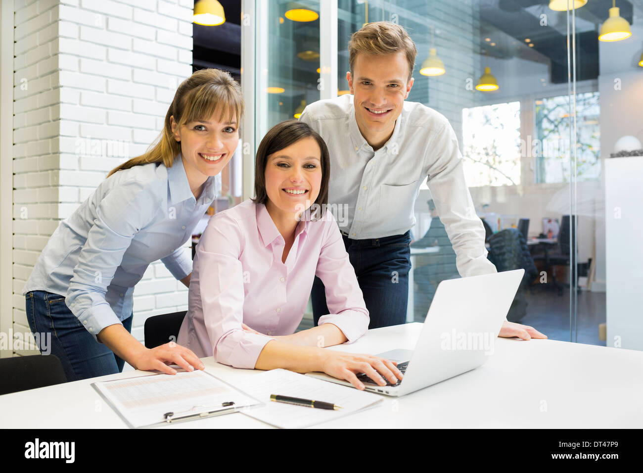 business man woman computer desk office meeting Stock Photo ...