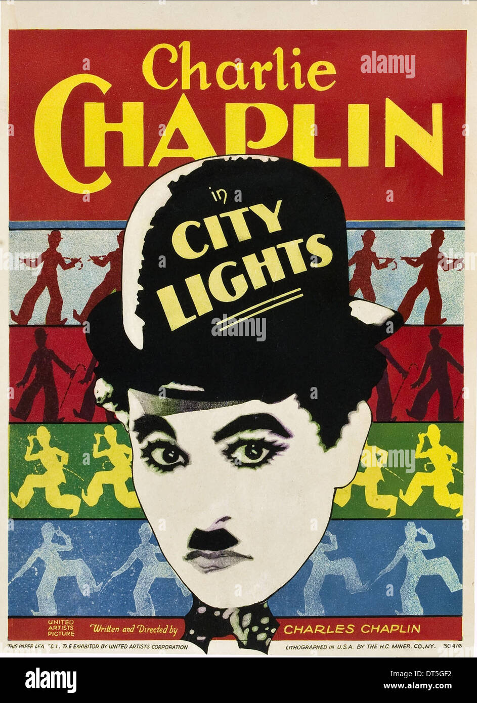 charles chaplin poster city lights 1931 stock photo