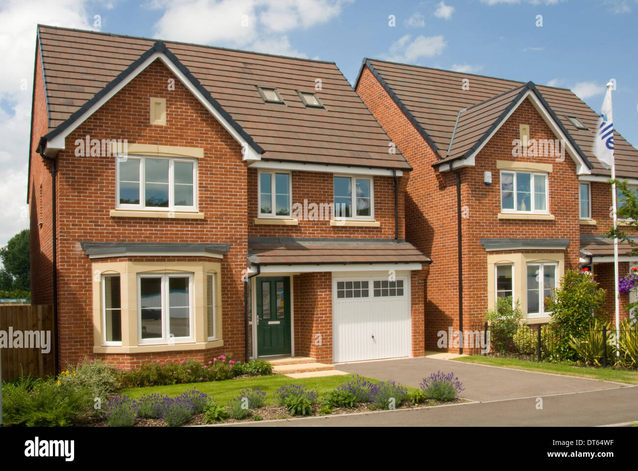 New build red brick detached house stock photo royalty for New brick homes