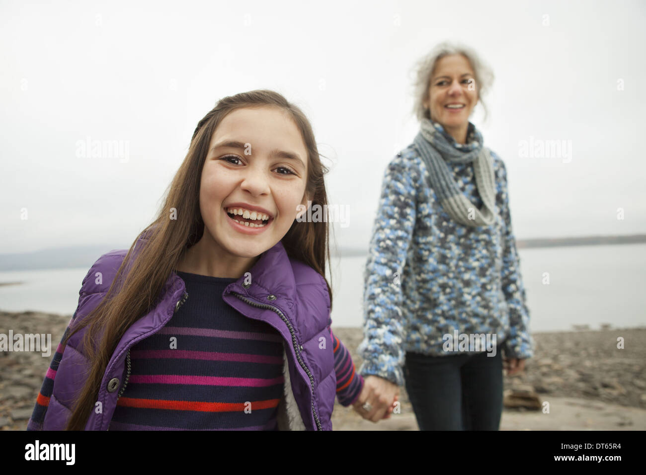 Mature woman and young girl