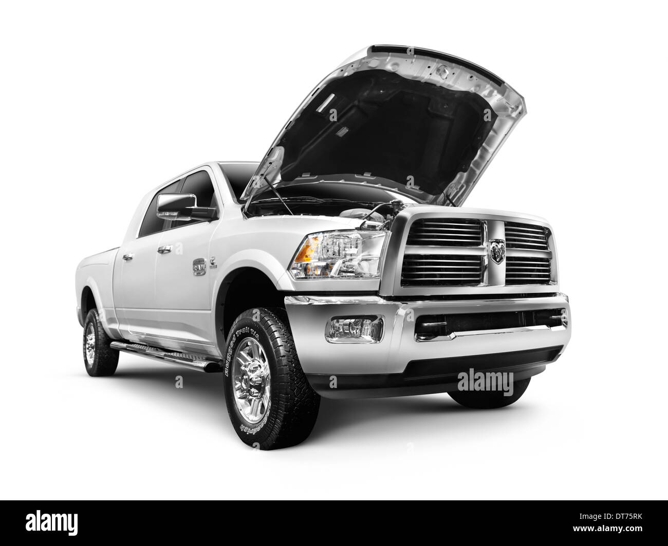 Stock photo white 2012 dodge ram 1500 laramie longhorn pickup truck isolated on white background with clipping path