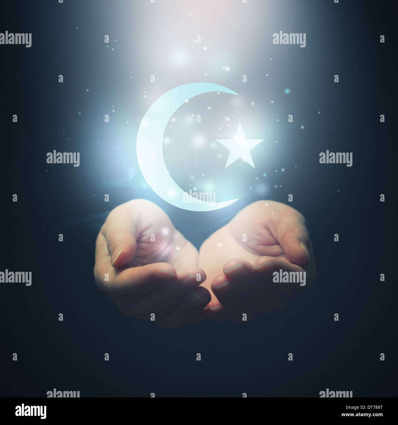 Female hands opening to light and half moon and star symbol of female hands opening to light and half moon and star symbol of islam religion buycottarizona Choice Image