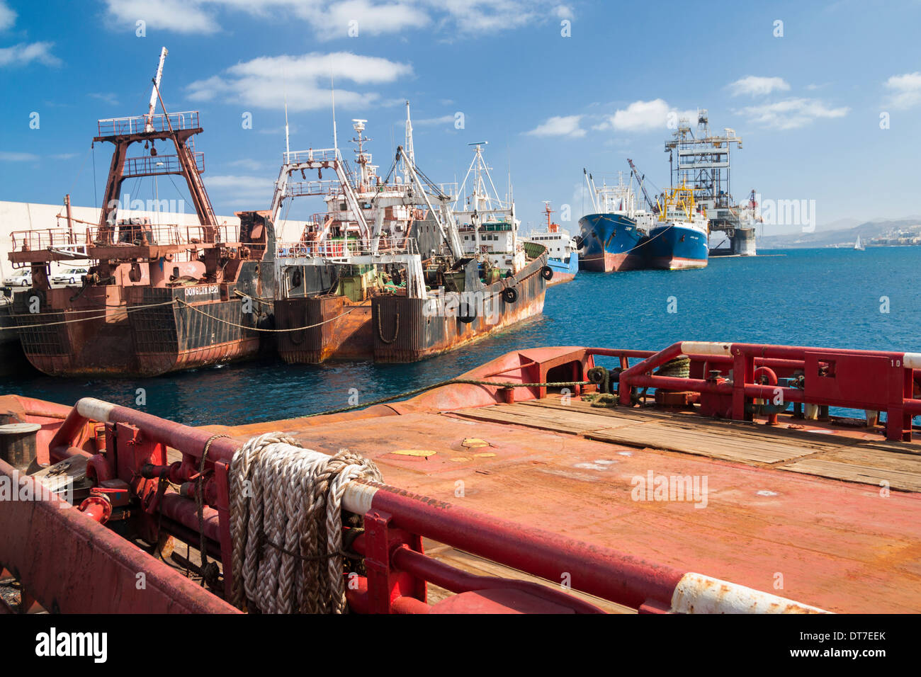 Fishing trawlers and oil rig in port in las palmas gran canaria stock photo royalty free image - Port of las palmas gran canaria ...