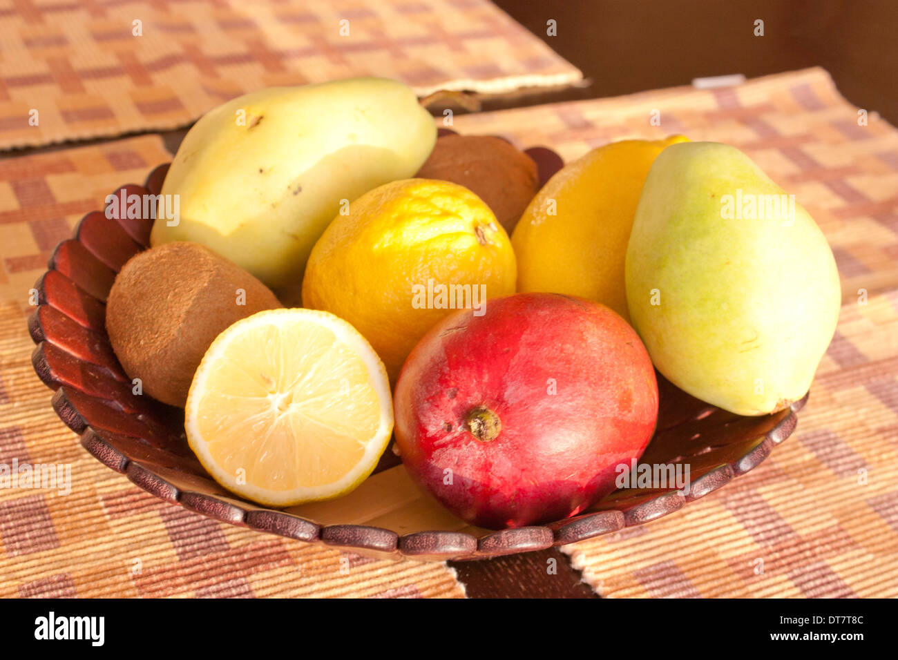 Basket With Fruits On The Table, Fruit Basket In The Kitchen