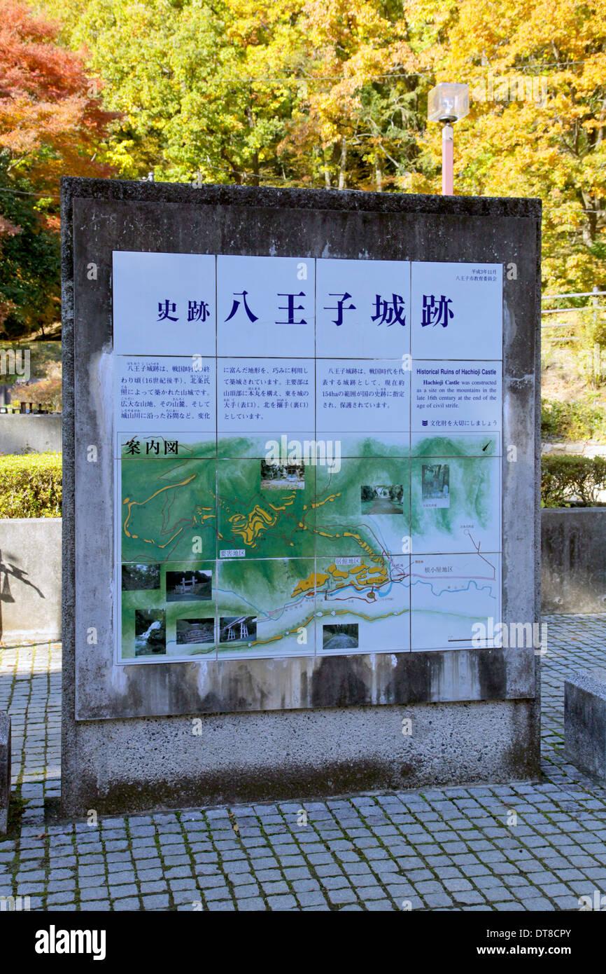 Hachioji Castle Information And Map Tokyo Japan Stock Photo - Hachiōji map