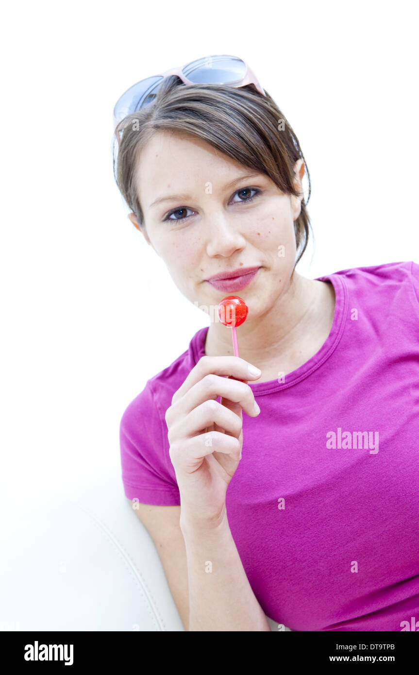 lolly model Stock Photo - Young woman with lolly (model-released