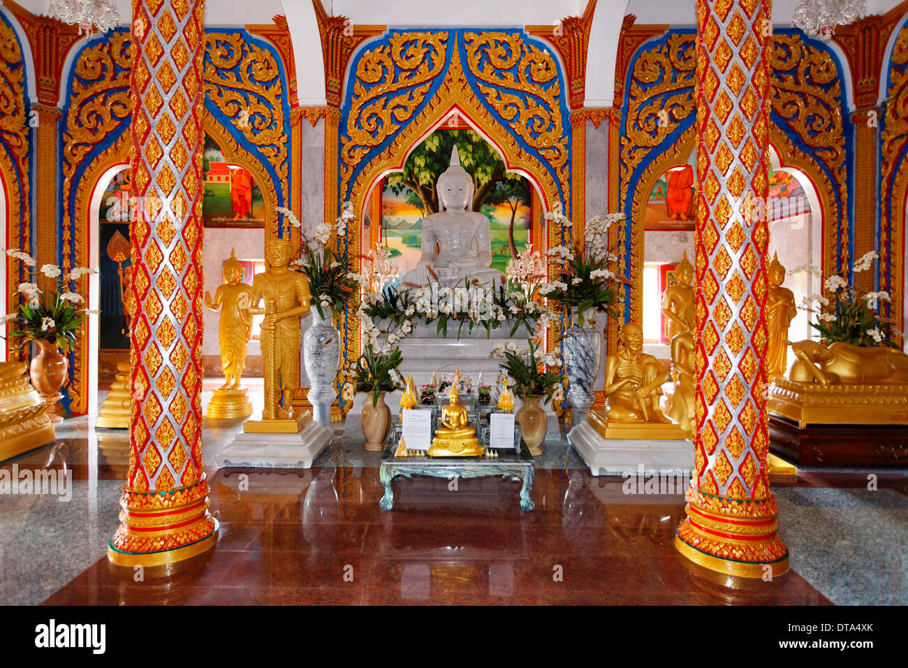 Buddhist Altar And Ornate Columns Wat Chalong Temple