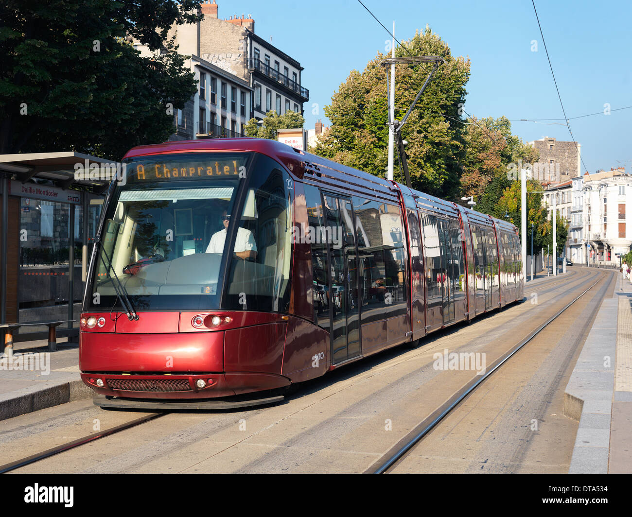 clermont ferrand france tram at the station delille. Black Bedroom Furniture Sets. Home Design Ideas