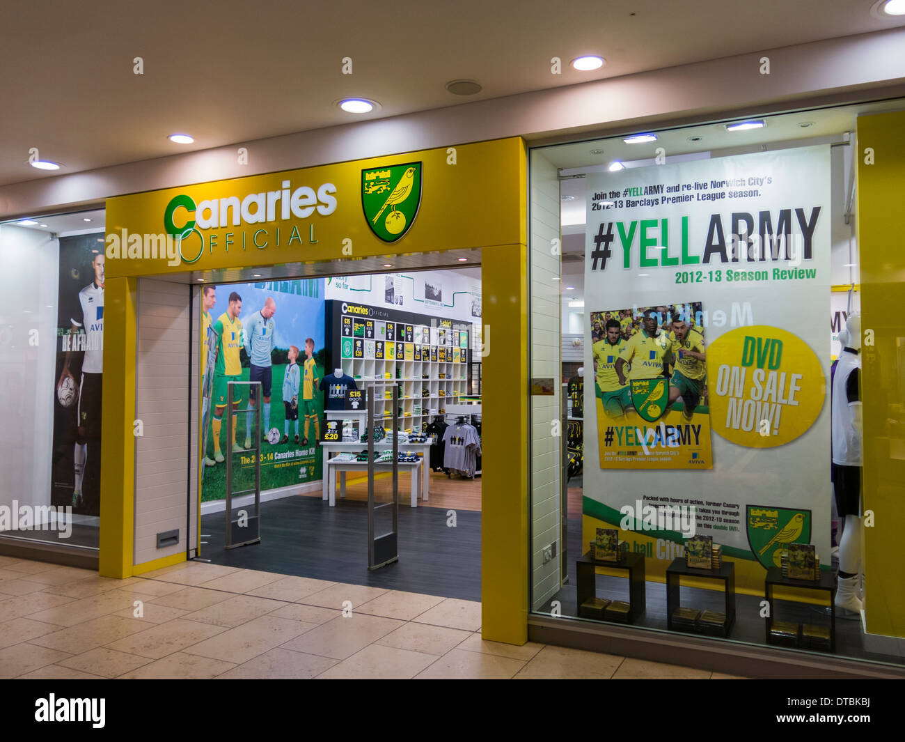 norwich city football club shop store in shopping mall