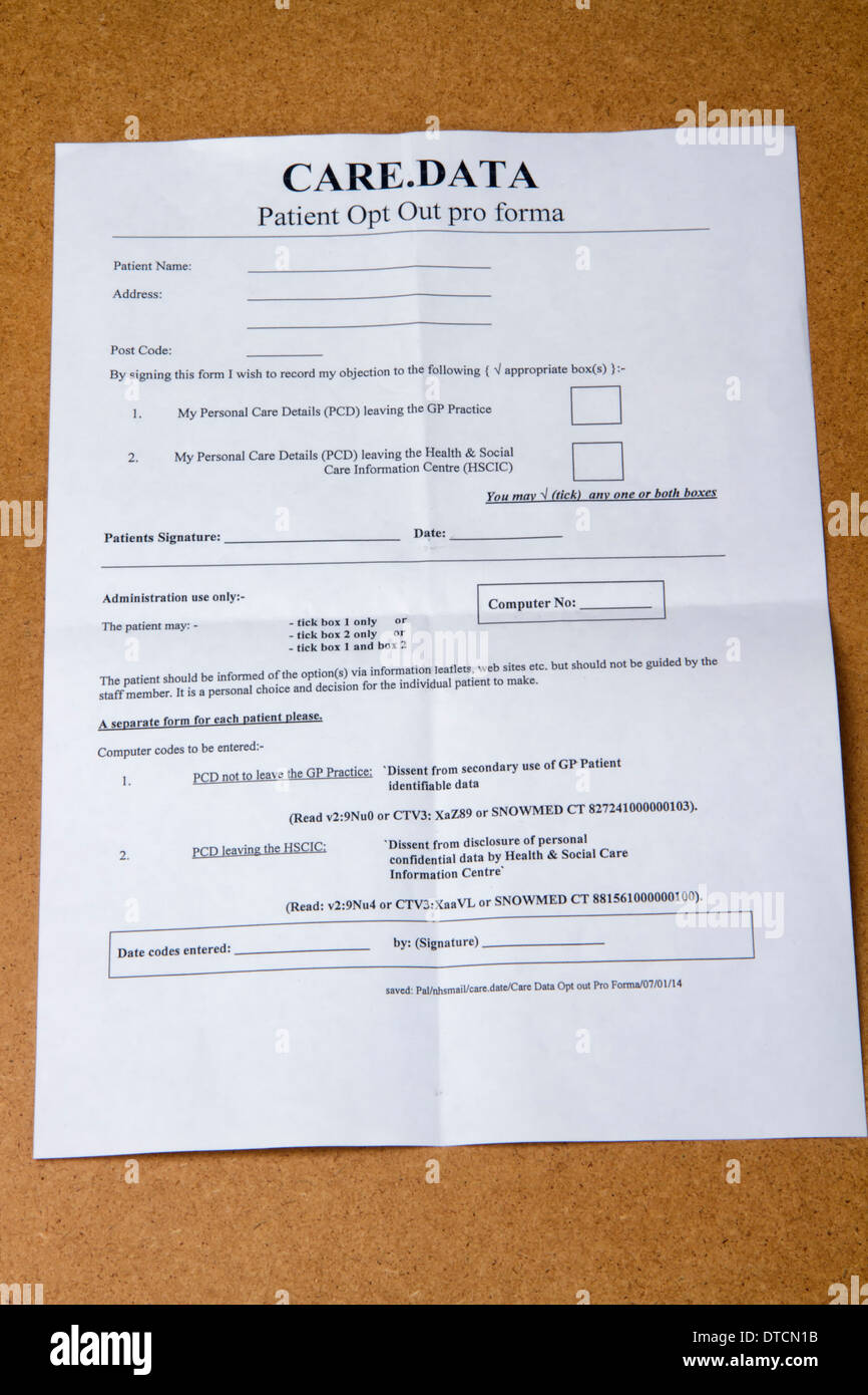NHS Patient opt out form from medical record sharing Stock Photo ...