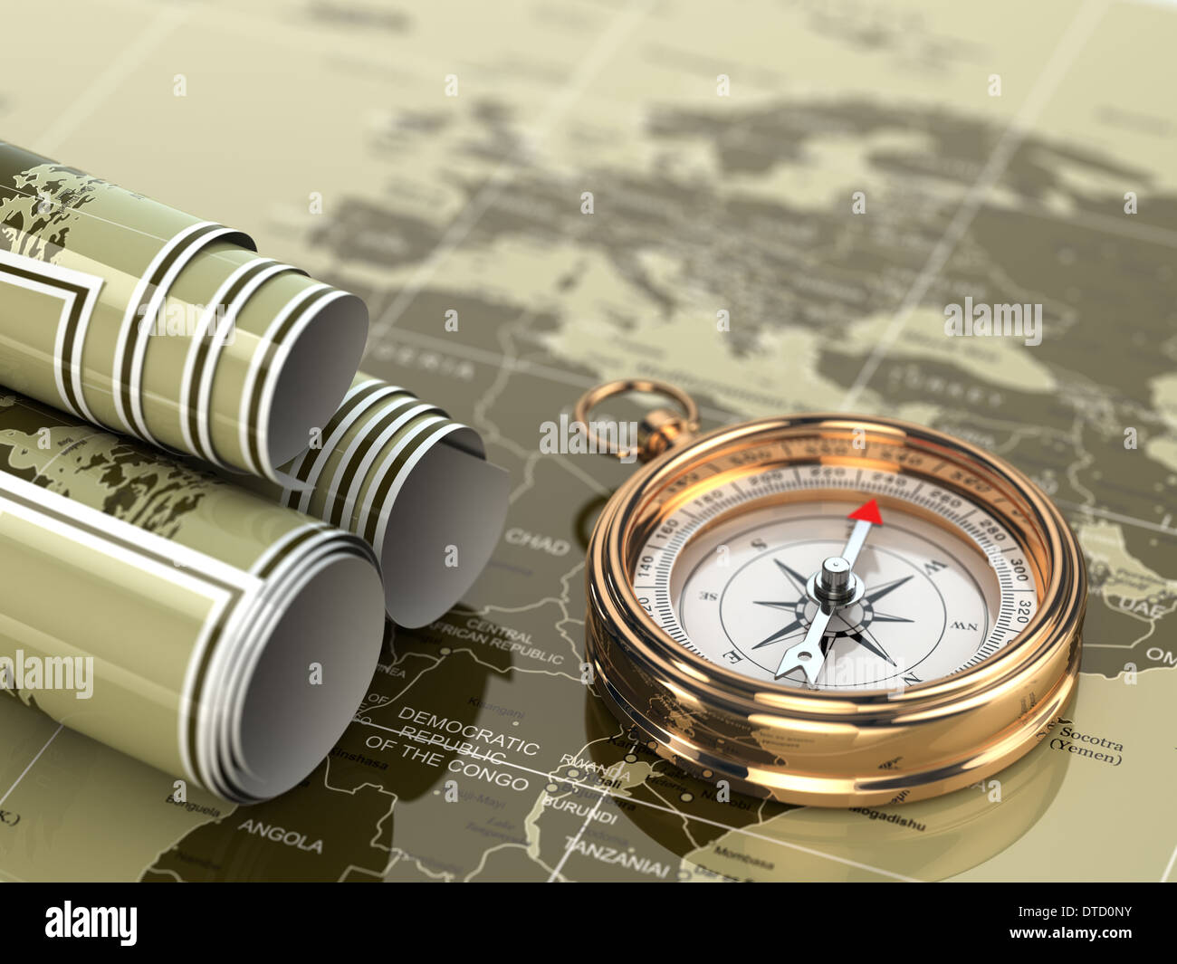 Gold compass on world map background 3d stock photo royalty free gold compass on world map background 3d gumiabroncs Gallery