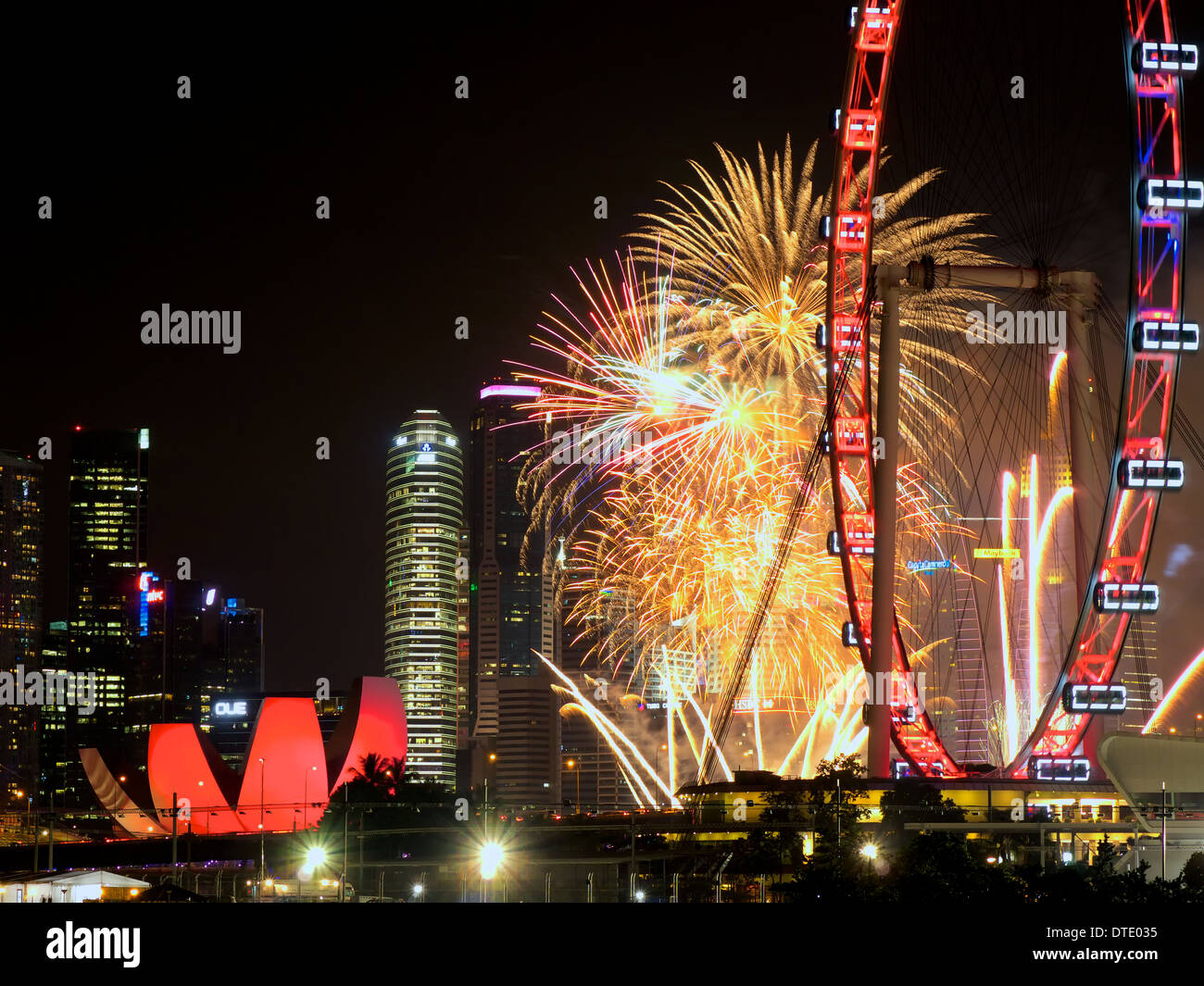 stock photo view of marina bay area from bay east garden during singapores national day celebration with fireworks display