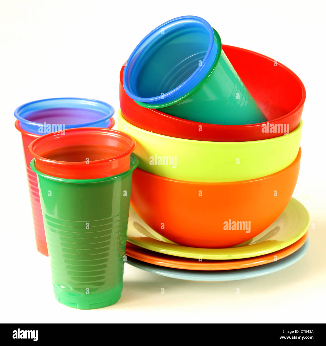 colored plastic tableware (cups bowls plates  sc 1 st  Alamy & colored plastic tableware (cups bowls plates Stock Photo Royalty ...