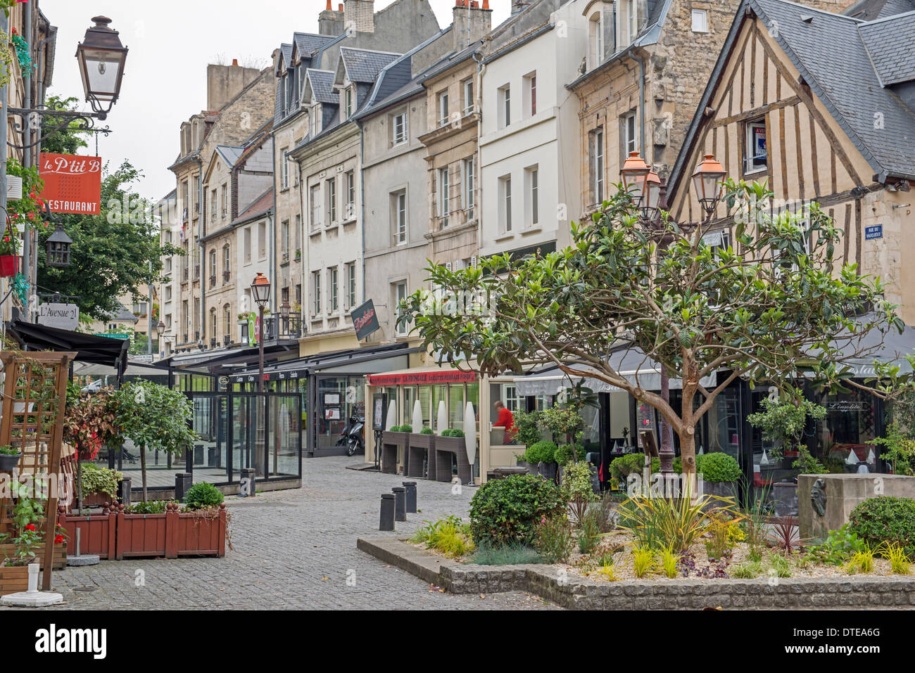 rue de vaugeaux in the old quarter of caen in the calvados 14 stock photo royalty free image. Black Bedroom Furniture Sets. Home Design Ideas
