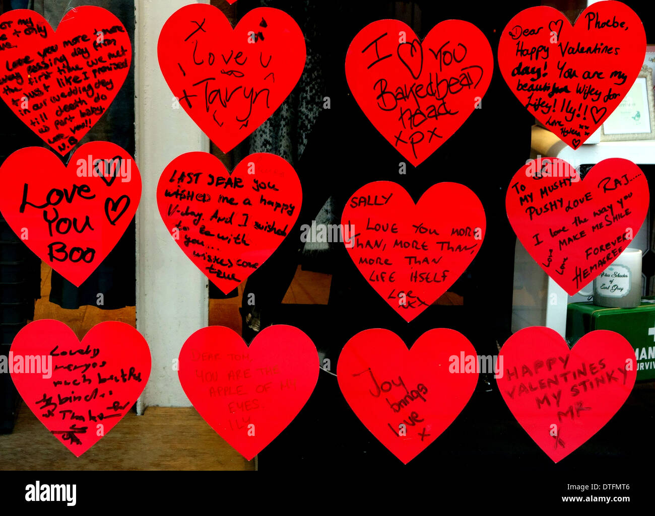 valentine u0027s day messages in shop window display london stock