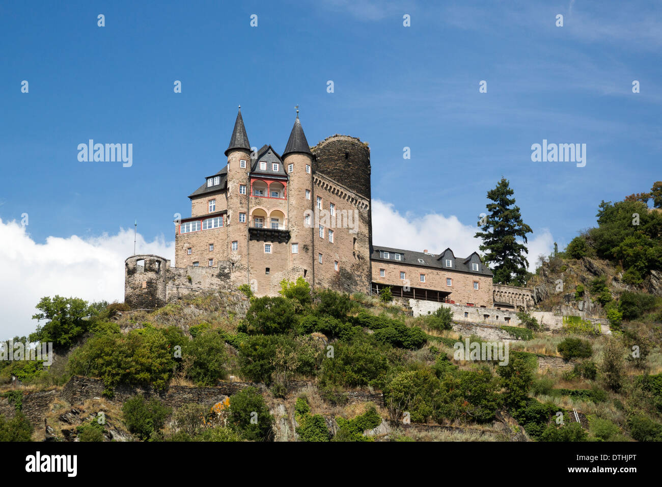 Katz Castle On Hillside In Rhine River Valley Stock Photo Royalty - Rhine river location