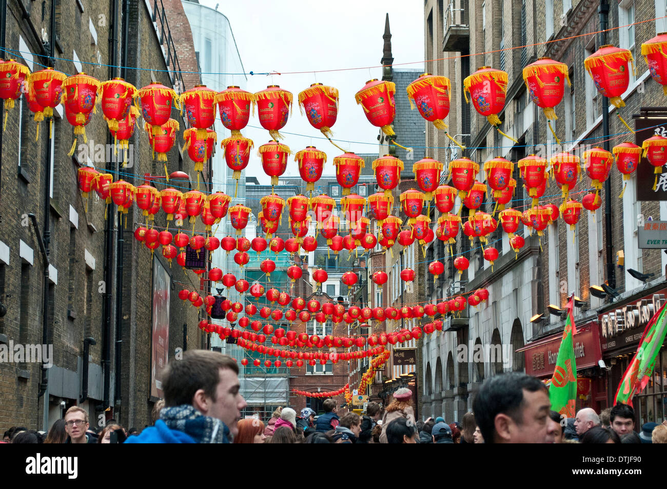 Chinese New Year Decorations In Lisle Street, Chinatown, Soho, London, WC2,  UK