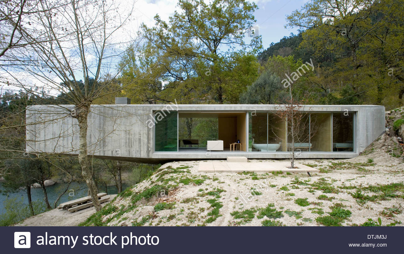 exterior facade of modern rural house in geres national park portugal