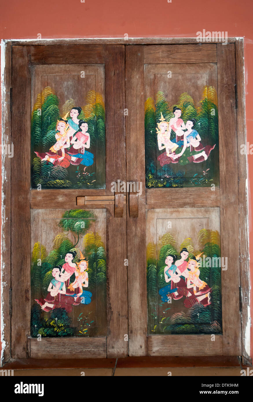 traditional door panels used as restaurant decor, chiang mai stock