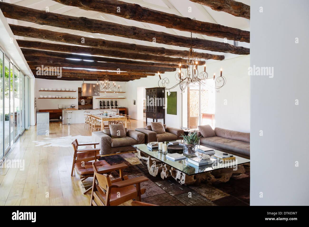 Open floor plan in luxury house stock photo royalty free for Luxury open floor plans