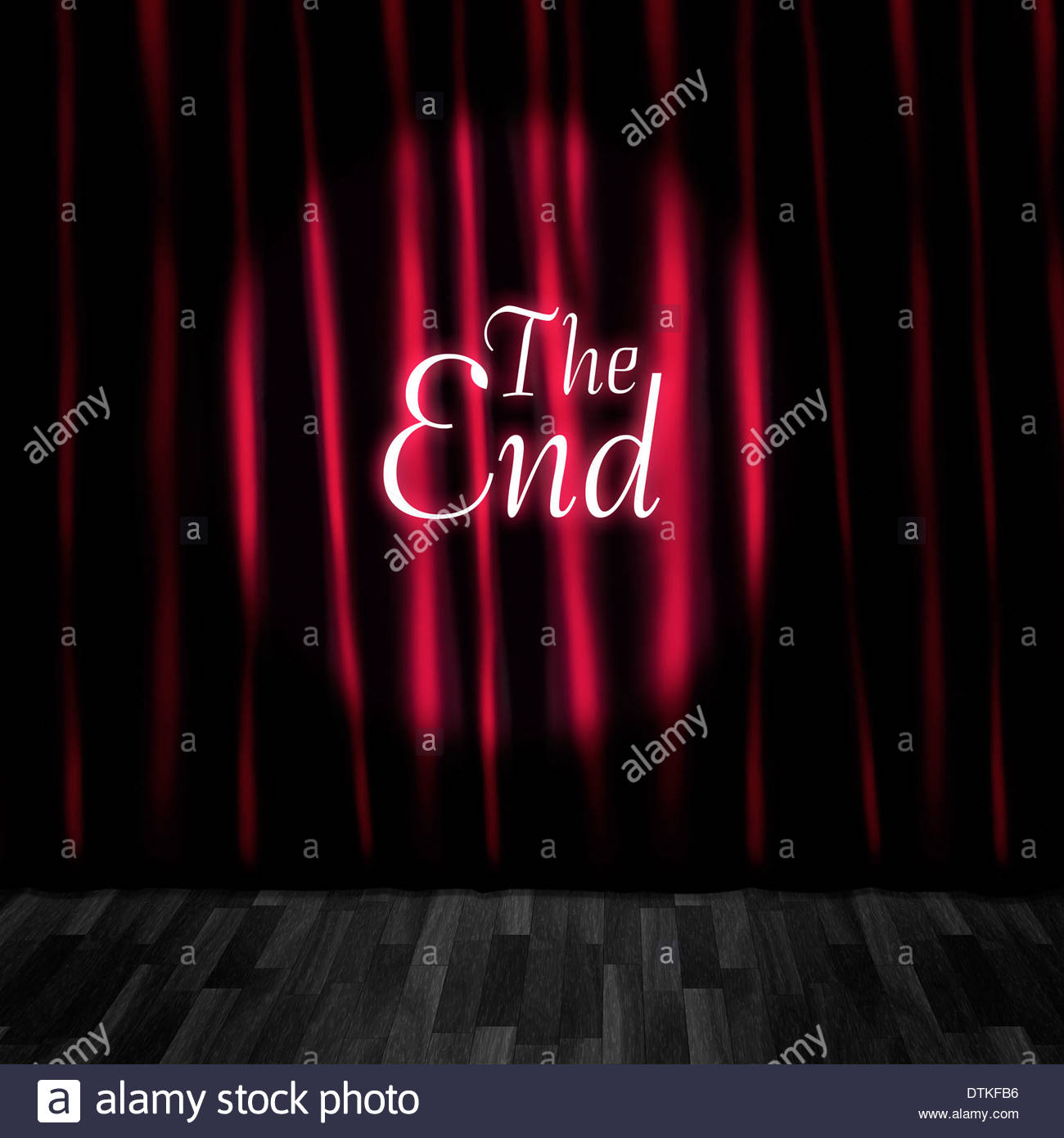 theatre curtain close or stage curtain call in a depiction