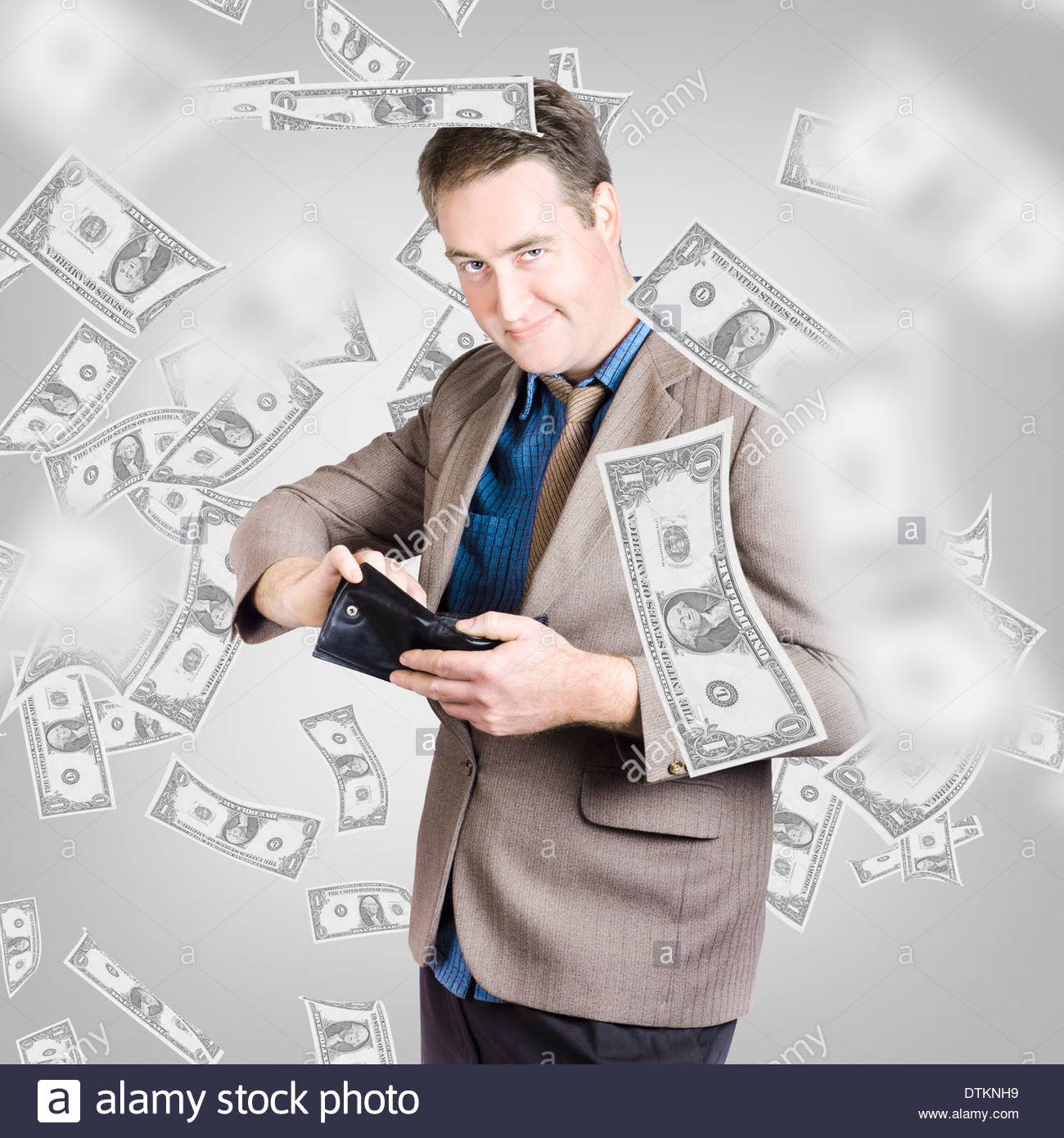 worksheet Counting Dollar Bills creative design portrait of a wealthy businessman counting american dollar bills in wallet under shower money financial