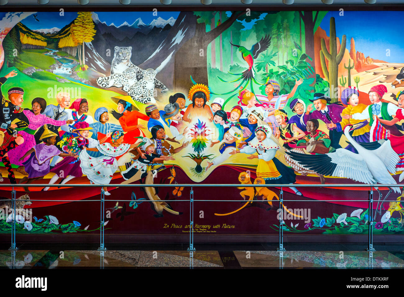 Colorful Mural Titled In Peace Harmony With Nature By Leo Tanguma Denver International Airport Colorado USA