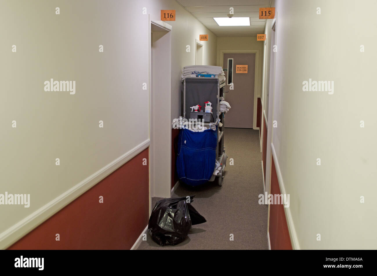 Room service equipment in hotel corridor stock photo for Equipement hotel