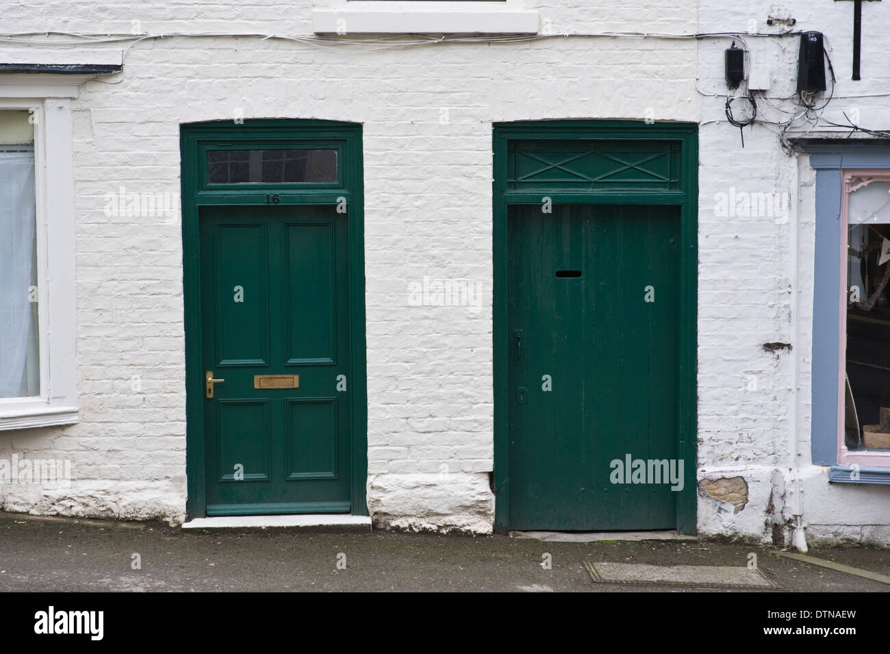 Number 16 green wooden front doors of house in malton for Number 16 house