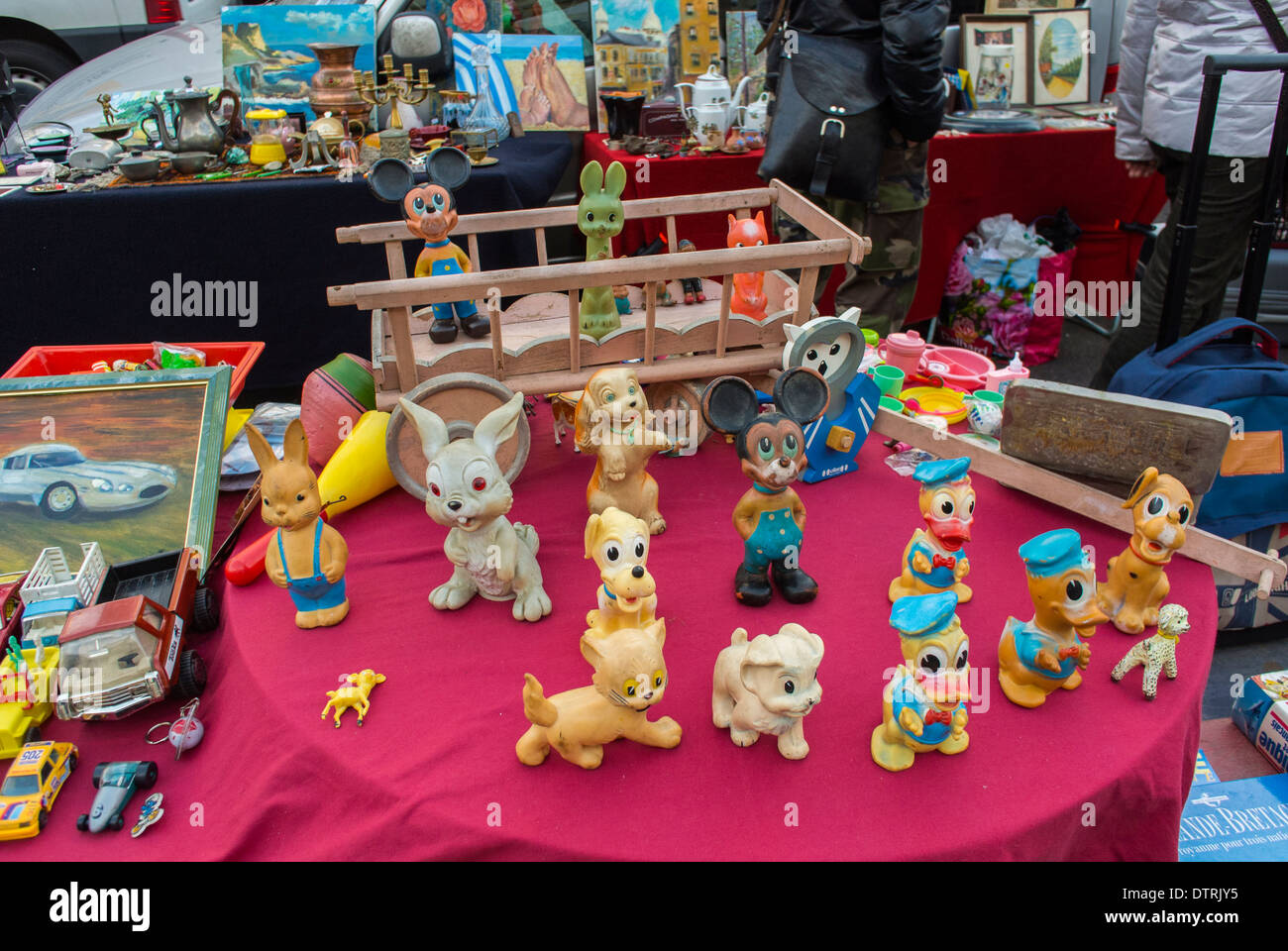 Paris, France., Child Figurine Toys On Display In French Flea Market On  Table, On Street, In Belleville District
