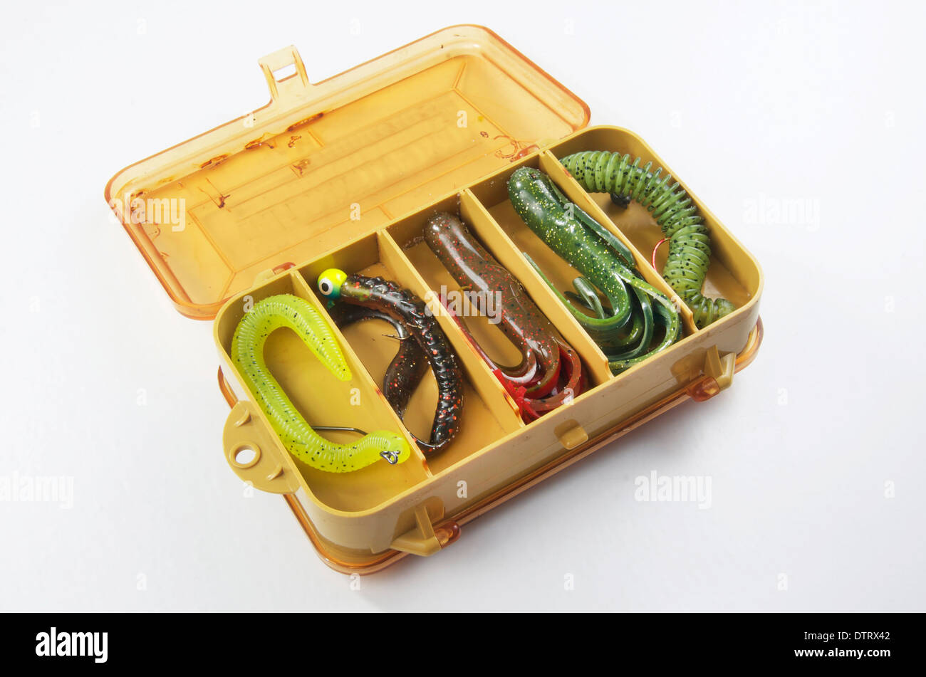 Bass bait or old fishing tackle box with rubber worms and for Fishing worm box