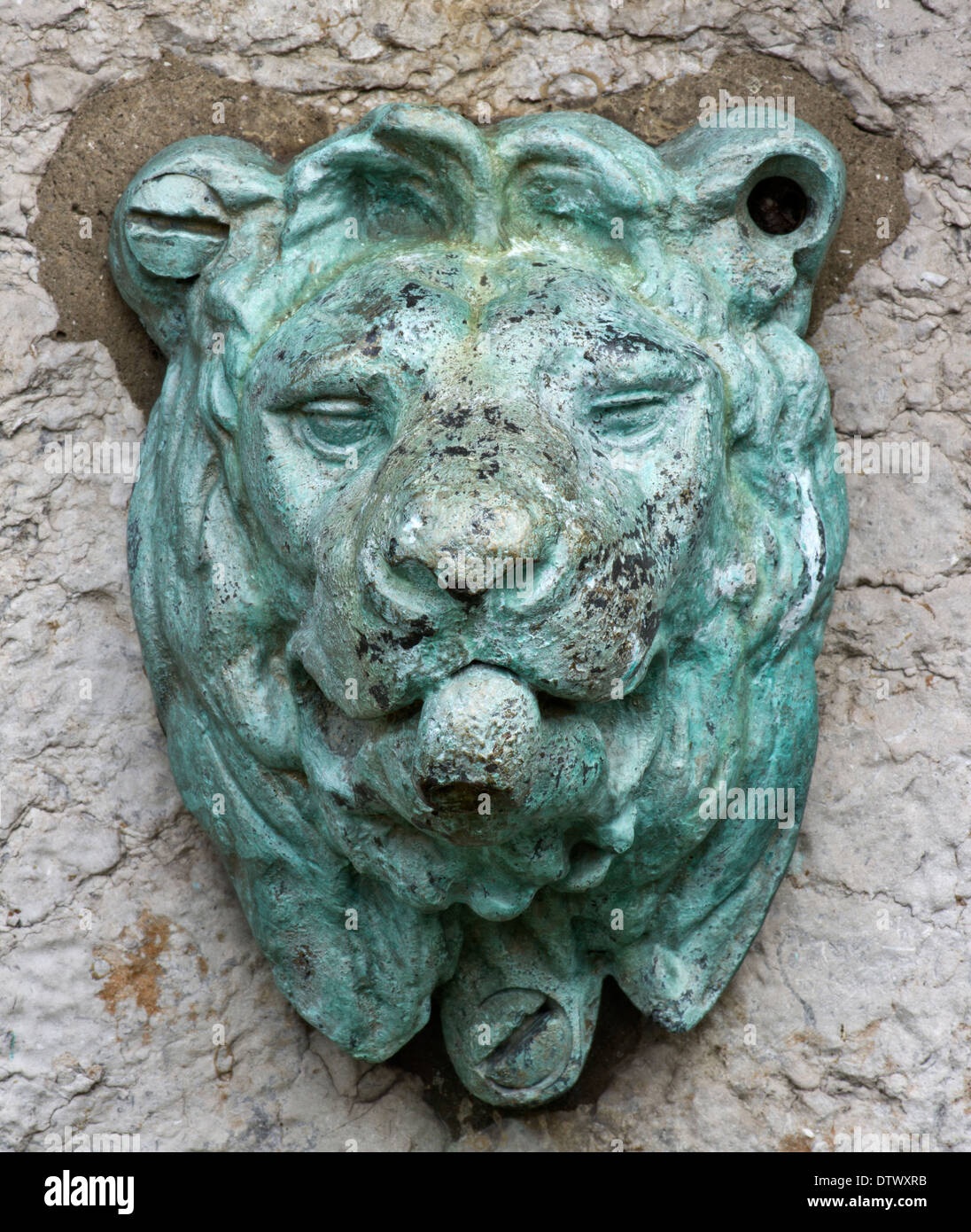 Bronze Lions Head drinking water spout, built when piped water was ...