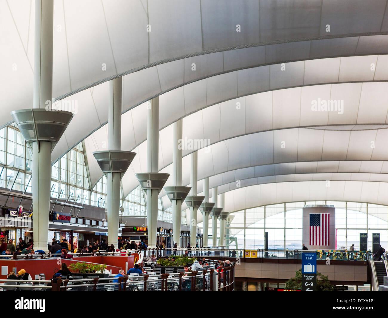 Jeppesen Terminal Denver International Airport Colorado USA. Canopy roof design by Fentress Bradburn Architects & Jeppesen Terminal Denver International Airport Colorado USA ...