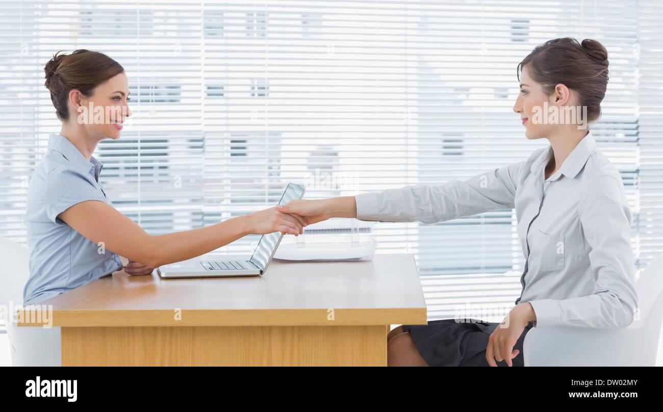 businessw shaking hands interviewee stock photo royalty businessw shaking hands interviewee