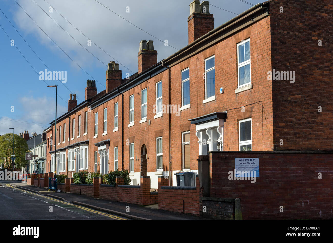 Row of neat red brick victorian terraced houses in Harborne Stock ...
