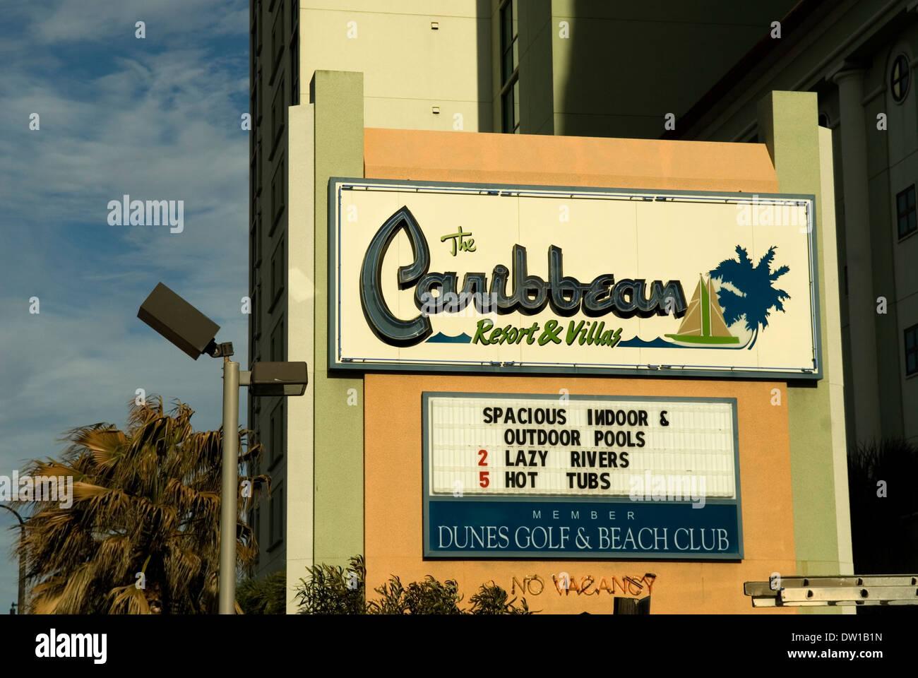 Caribbean Hotel Sign Myrtle Beach South Carolina USA
