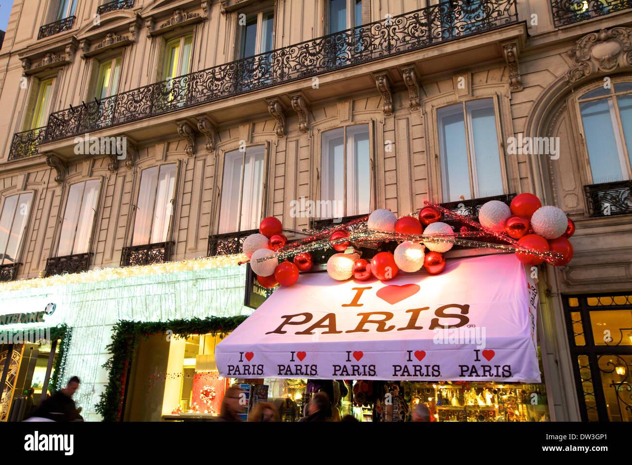 Shop With Xmas Decorations, Avenue des Champs-Elysees, Paris ...
