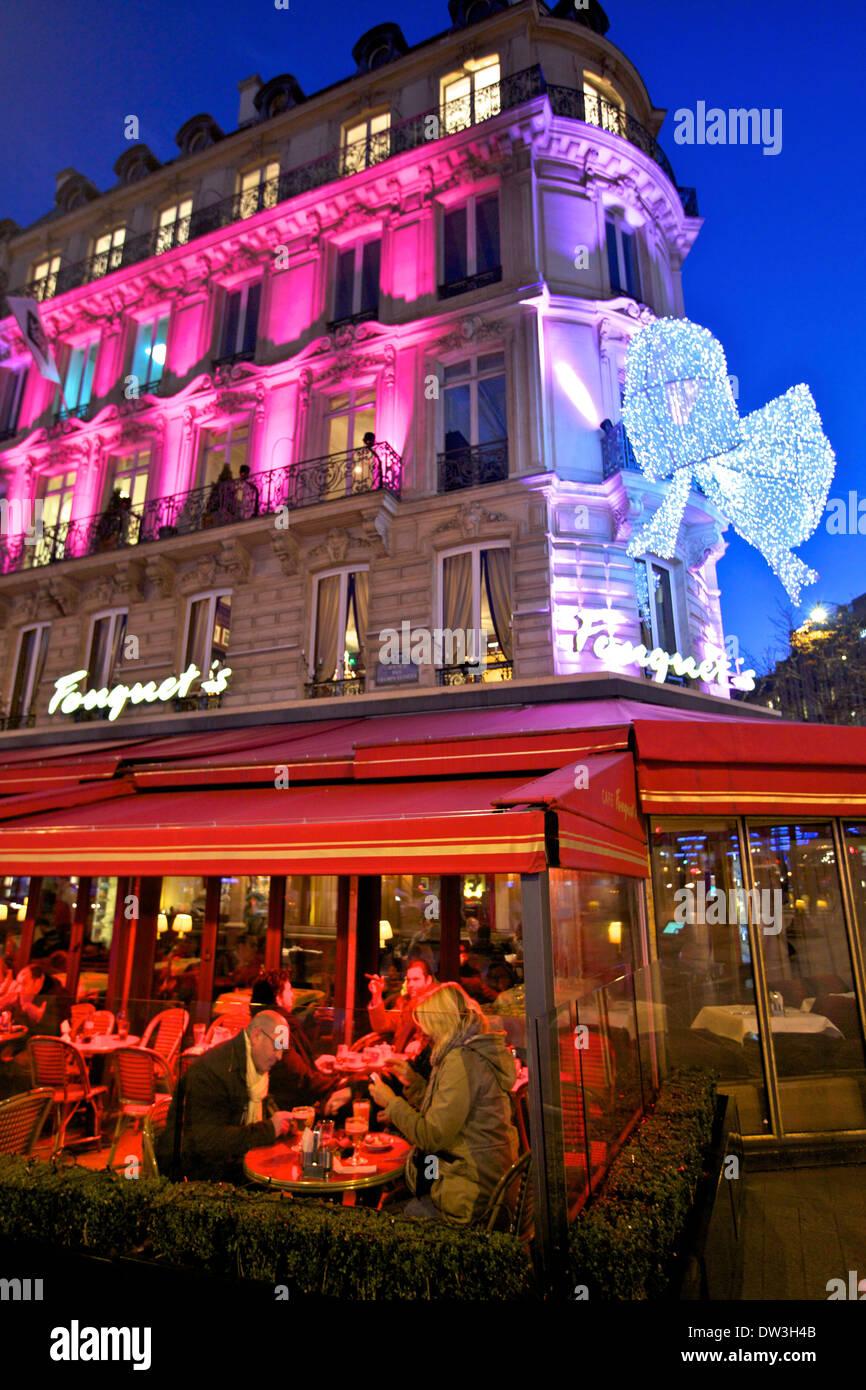 fouquet 39 s restaurant at dusk avenue des champs elysees paris stock photo royalty free image. Black Bedroom Furniture Sets. Home Design Ideas