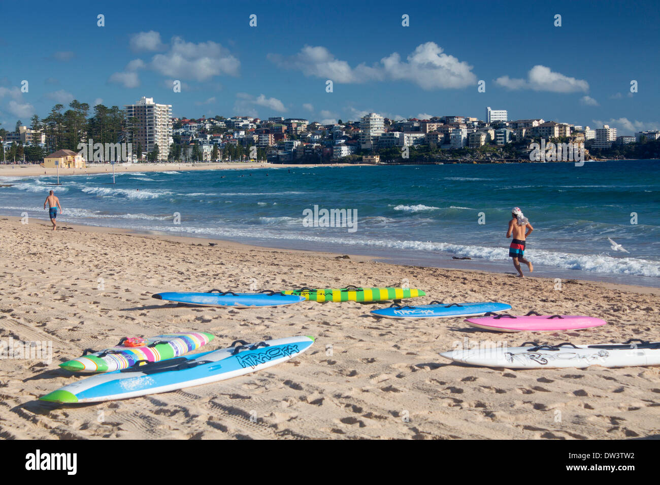 Manly North Steyne Beach With Surfboards In Foreground Northern Beaches Sydney New South Wales Nsw Australia