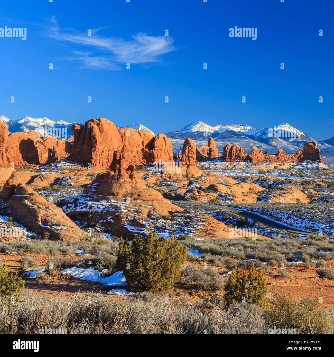 Winter Scenery In Arches National Park Near Moab Utah USA Stock Photo Ro